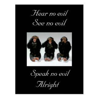 Hear no evil, See no evil, Speak no evil, ... Postcard