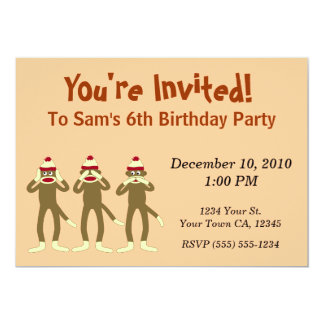 Hear no Evil Sock Monkey Party Invitations