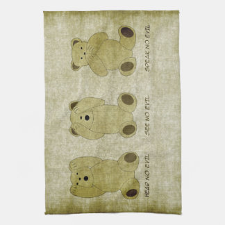 Hear No Evil Teddy Bears Kitchen Towel