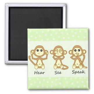 Hear No See No Speak No Evil - Cute Baby Monkeys 2 Inch Square Magnet