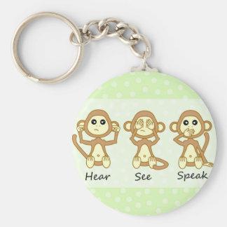 Hear No See No Speak No Evil - Cute Baby Monkeys Basic Round Button Keychain