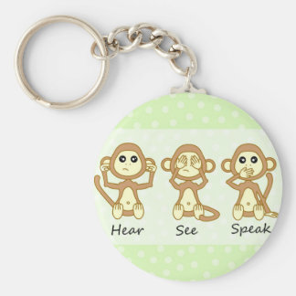 Hear No See No Speak No Evil - Cute Baby Monkeys Keychain
