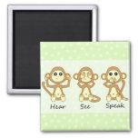 Hear No See No Speak No Evil - Cute Baby Monkeys Magnets