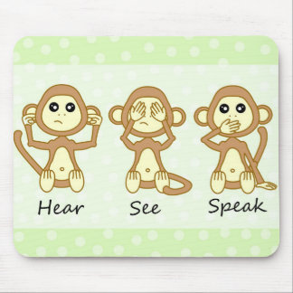 Hear No See No Speak No Evil - Cute Baby Monkeys Mouse Pad