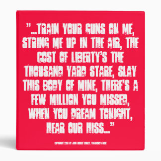 """...hear our hiss.."" lyrics for patriots Binder"