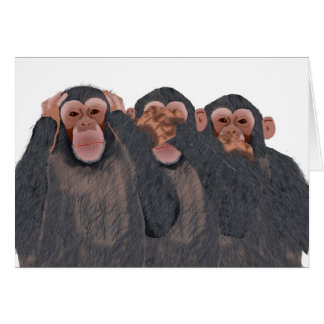 Hear, See, Speak No Evil Chimpanzee Blank Greeting Card