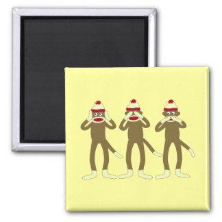 Hear, See, Speak No Evil Sock Monkeys 2 Inch Square Magnet