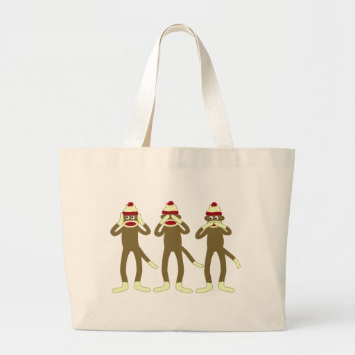Hear, See, Speak No Evil Sock Monkeys Canvas Bags