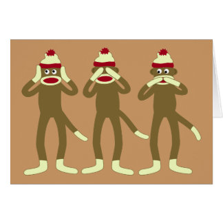 Hear, See, Speak No Evil Sock Monkeys Card