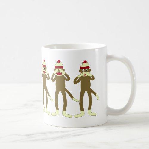 Hear See Speak No Evil Sock Monkeys Coffee Mug