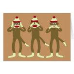 Hear, See, Speak No Evil Sock Monkeys Greeting Card