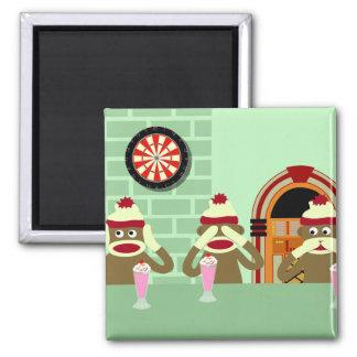 Hear, See, Speak No Evil Sock Monkeys Ice Cream 2 Inch Square Magnet