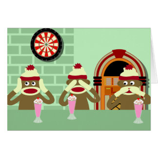 Hear, See, Speak No Evil Sock Monkeys Ice Cream Card