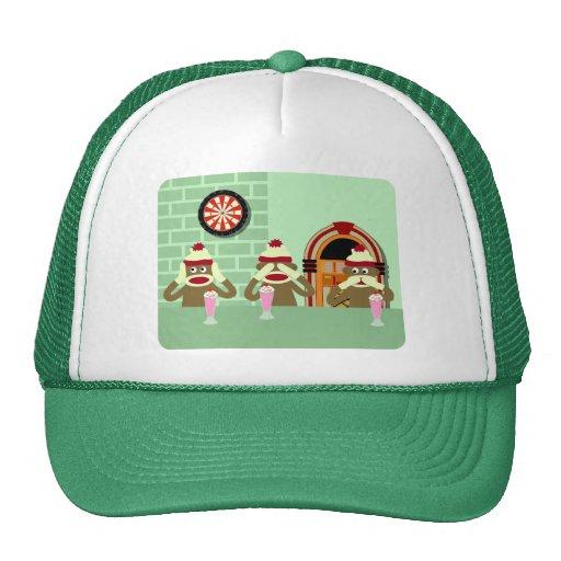 Hear, See, Speak No Evil Sock Monkeys Ice Cream Mesh Hat