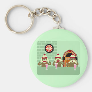 Hear, See, Speak No Evil Sock Monkeys Ice Cream Keychain