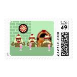 Hear, See, Speak No Evil Sock Monkeys Ice Cream Postage Stamp