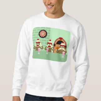 Hear, See, Speak No Evil Sock Monkeys Ice Cream Pull Over Sweatshirt