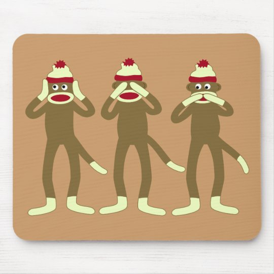 Hear, See, Speak No Evil Sock Monkeys Mouse Pad