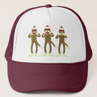 Hear, See, Speak No Evil Sock Monkeys Trucker Hat