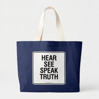 HEAR SEE SPEAK TRUTH LARGE TOTE BAG