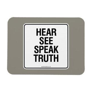 HEAR SEE SPEAK TRUTH MAGNET