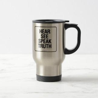 HEAR SEE SPEAK TRUTH TRAVEL MUG