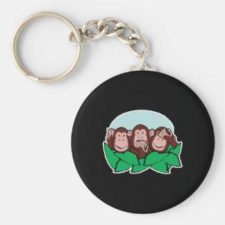 hear speak see no evil monkeys basic round button keychain