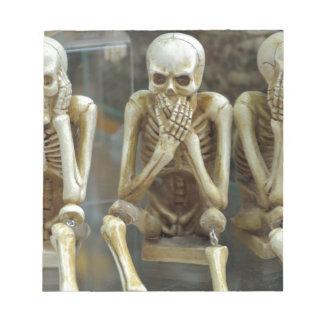 Hear, Speak, See No Evil Skeletons Notepad