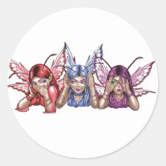 Hear, Speak, See No Evil Round Stickers