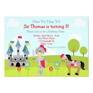 Hear Ye Brunette Cute Knight Birthday Party Card