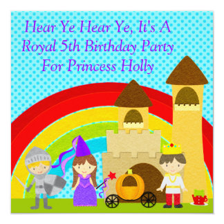Hear Ye Hear Ye, It's A Royal Party CSTM 5.25x5.25 Square Paper Invitation Card