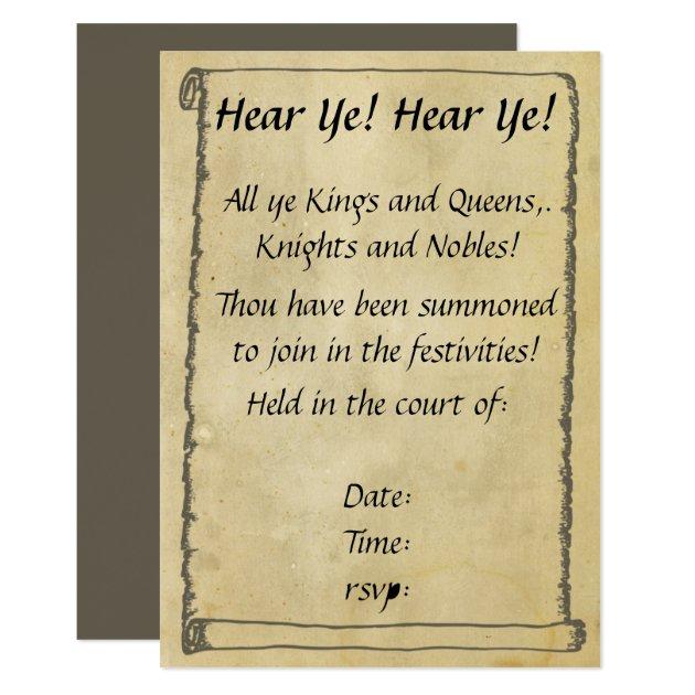 hear ye hear ye scroll invitations zazzle