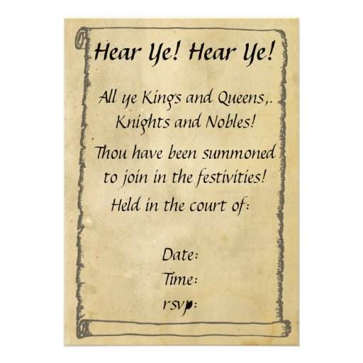 Medieval Scroll Invitations was Beautiful Design To Create Perfect Invitation Layout