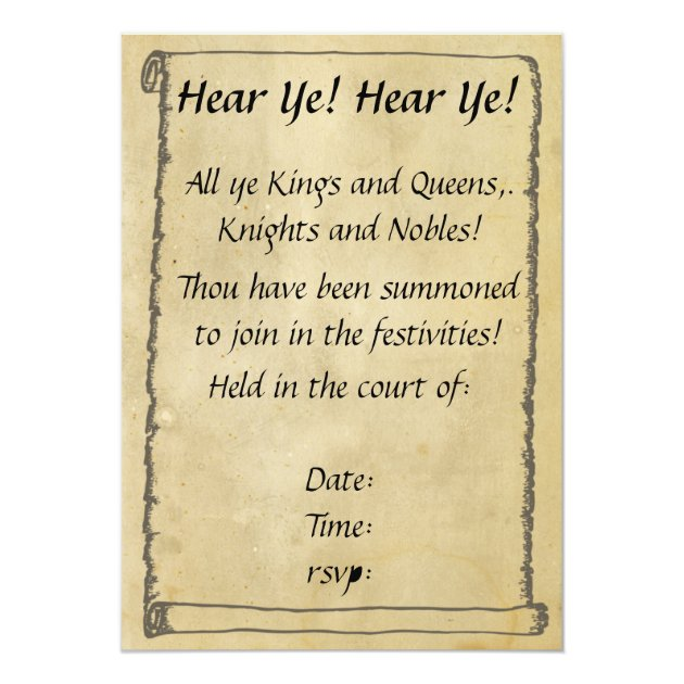 Hear Ye! Hear Ye! Scroll Invitations | Zazzle.com