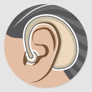 Hearing Aid Classic Round Sticker