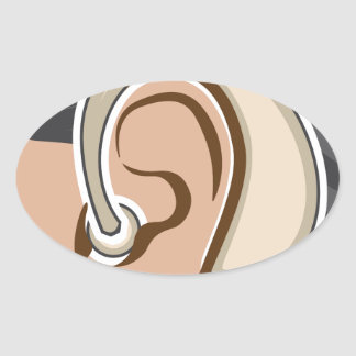 Hearing Aid Oval Sticker