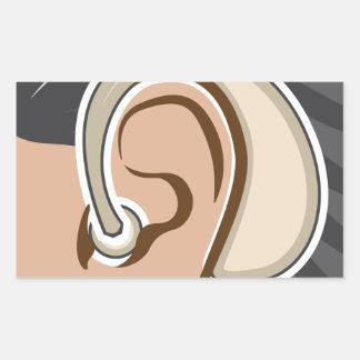 Hearing Aid Rectangular Sticker