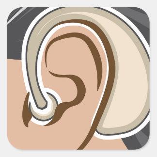 Hearing Aid Square Sticker