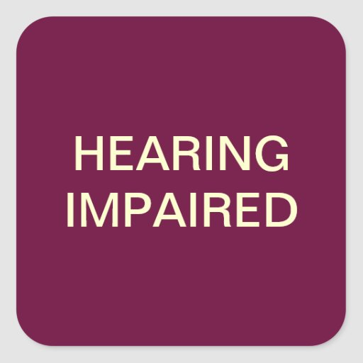 Hearing Impaired Medical Chart Labels Square Sticker