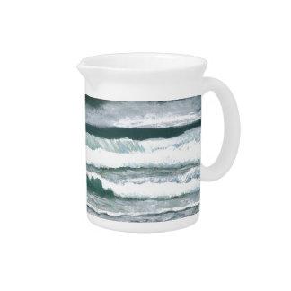 Hearing the Waves Crash Ocean Sea Art Gifts Beverage Pitcher