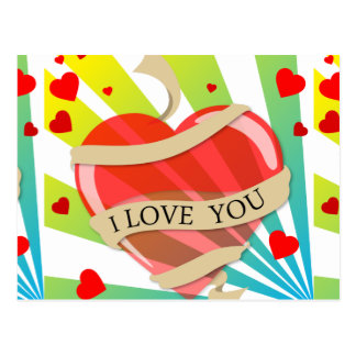heart11 VECTOR HEART LOVE YOU COLORFUL HAPPY CARIN Postcard