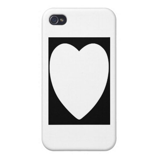 Heart1 blanco iPhone 4/4S funda