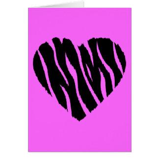 HEART35 ZEBRA HEART SHAPE LOVE GIRLY FUN PARTY CARD
