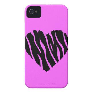 HEART35 ZEBRA HEART SHAPE LOVE GIRLY FUN PARTY iPhone 4 COVERS