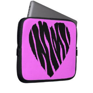 HEART35 ZEBRA HEART SHAPE LOVE GIRLY FUN PARTY COMPUTER SLEEVE