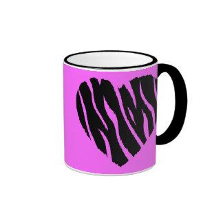 HEART35 ZEBRA HEART SHAPE LOVE GIRLY FUN PARTY COFFEE MUGS