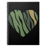 HEART42 CAMOUFLAGE GREENS BLACK TAN ZEBRA STRIPES SPIRAL NOTEBOOKS