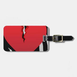 heart50 BROKEN RED HEART ZEBRA ANIMAL PRINT BACKGR Bag Tag