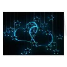 heart-142736 glowing blue black hanging heart GRUN Greeting Card