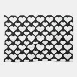Heart 1 Black and White Hand Towels